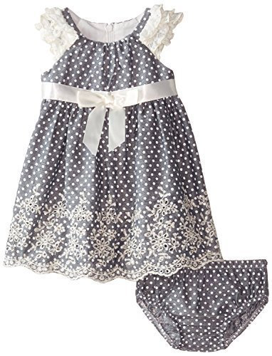 Baby Girls 3M-24M Blue Ruffley Sleeve Pin Dot Chambray Dress (18 Months, Blue)