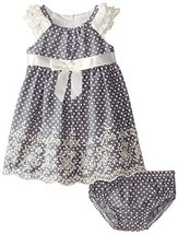 Baby Girls 3M-24M Blue Ruffley Sleeve Pin Dot Chambray Dress (18 Months, Blue) image 1