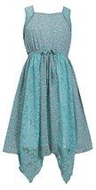Big-Girls TWEEN 7-16 Mint-Green Hanky Hem Mix Media Lace Chiffon Dress, 12, M...