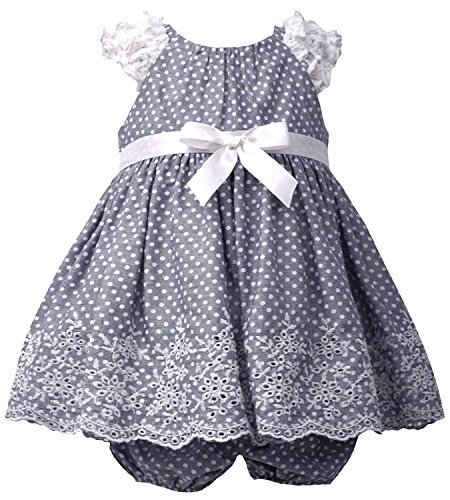 Baby Girls Infant Blue-Chambray Pin Dot Ruffle Sleeve Embroider Border Dress,...