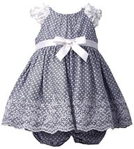 Baby Girls Infant Blue-Chambray Pin Dot Ruffle Sleeve Embroider Border Dress,... image 1