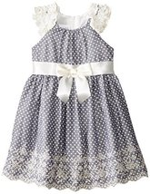Baby Girls Infant Blue-Chambray Pin Dot Ruffle Sleeve Embroider Border Dress,... image 2