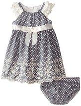 Baby Girls 3M-24M Blue Ruffley Sleeve Pin Dot Chambray Dress (24 Months, Blue) image 1