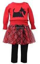 Baby Girls Red Scottie Dog Intarsia Plaid Sweater/Skirt-Legging Set, W1-BBNI-...