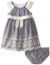 Baby Girls 3M-24M Blue Ruffley Sleeve Pin Dot Chambray Dress (24 Months, Blue) image 2