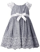 Little Girls 2T-4T Embroidered Eyelet Border Dot Print Chambray Dress, Bonnie...