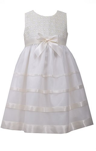 Little Girls 4-6X Ivory Lace And Ribbon Mesh Overlay Dress, Bonnie Jean, Ivor...
