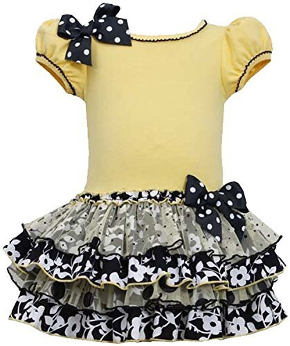 Little Girls 2T-6X Yellow Black White Knit to Mix Print Tier Drop Waist Dress...