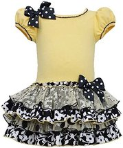 Little Girls 2T-6X Yellow Black White Knit to Mix Print Tier Drop Waist Dress... image 1