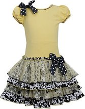 Little Girls 2T-6X Yellow Black White Knit to Mix Print Tier Drop Waist Dress... image 2
