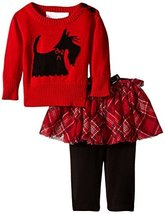 Baby Girls Red Scottie Dog Intarsia Plaid Sweater/Skirt-Legging Set, W1-BBNI-... image 2