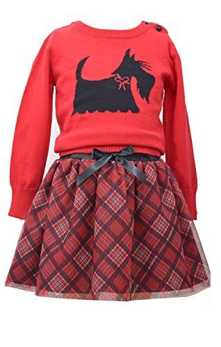 Little Girls Red Scottie Dog Intarsia Plaid Sweater/Skirt Set, W2-TDLG-WIN15-...