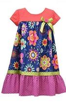 Little Girls Navy-Blue/Multi Knit to Floral Print Babydoll Dress, NV3BU, Navy... image 1