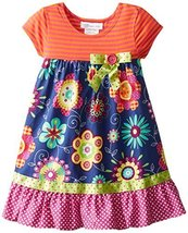 Bonnie Jean Little Girls' Dress Stripe To Poplin Print Skirt, Navy, 4 [Apparel]