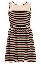 Little Girls Navy-Blue/Multi Knit to Floral Print Babydoll Dress, NV3NA, Navy... image 2