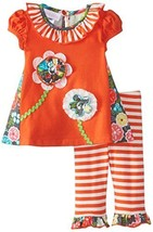 Bonnie Baby Baby-Girls Newborn Floral Appliqued Legging Set, Coral, 0-3 Months