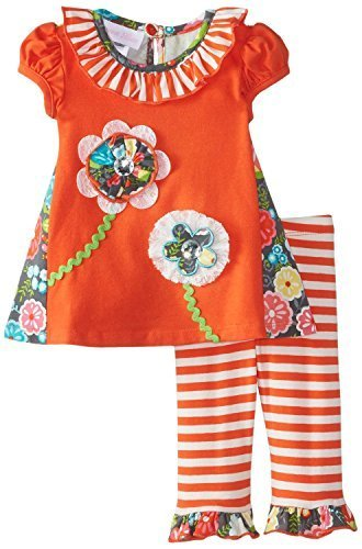 Baby Girls Coral/Orange Multi Flower Stem Applique Knit Dress/Legging Set, Bo...