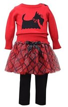 Baby Girls Red Scottie Dog Intarsia Plaid Sweater/Skirt-Legging Set, W0-BBNI-...