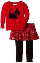Baby Girls Red Scottie Dog Intarsia Plaid Sweater/Skirt-Legging Set, W0-BBNI-... image 2