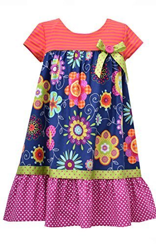 Little Girls Navy-Blue/Multi Knit to Floral Print Babydoll Dress, NV3SA, Navy...