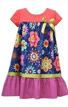 Little Girls Navy-Blue/Multi Knit to Floral Print Babydoll Dress, NV3SA, Navy... image 1