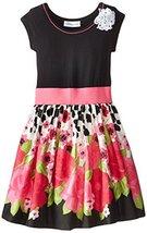 Bonnie Jean Little Girls' Knit To Poplin Border Print Dress, Fuchsia, 6