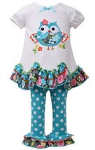 Little Girls 2T-4T Aqua-Blue/White Scallop Hem Owl Applique Knit Dress/Leggin...