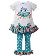 Little Girls 2T-4T Aqua-Blue/White Scallop Hem Owl Applique Knit Dress/Leggin... - $32.57