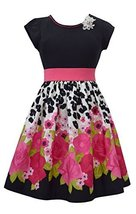 Little Girls Black/Fuchsia Floral Border Print Fit and Flare Dress, FC3SP, Fu...