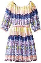 Bonnie Jean Little Girls' Novelty Print Peasant Dress, Blue, 6X [Apparel]