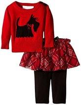 Bonnie Baby Baby-Girls Scottie Dog Intarsia Sweater Legging and Skirt Set, Re...
