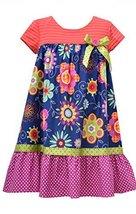 Little Girls Navy-Blue/Multi Knit to Floral Print Babydoll Dress, NV3SP, Navy... image 1