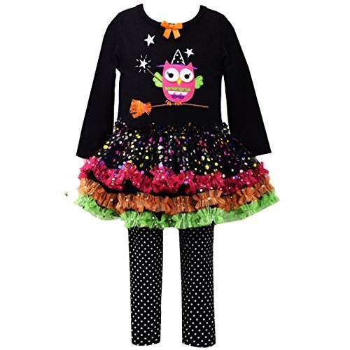 Little Girls 2T-6X Witch Owl Appliqued Legging Set, Black, 2T [Apparel]