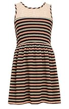 Little Girls Navy-Blue/Multi Knit to Floral Print Babydoll Dress, NV3SP, Navy... image 2