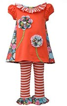Little Girls 2T-4T Coral/Orange Multi Flower Stem Applique Knit Dress/Legging...