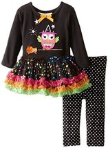 Little Girls 2T-6X Witch Owl Appliqued Legging Set, Black, 2T [Apparel] image 2