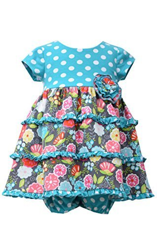 Baby Girls Aqua-Blue/Multi Dots And Floral Tier Knit Dress, Bonnie Baby, Aqua...