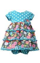 Baby Girls Aqua-Blue/Multi Dots And Floral Tier Knit Dress, Bonnie Baby, Aqua...