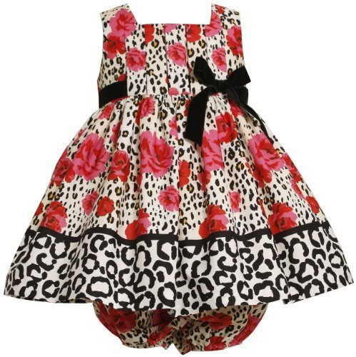 Bonnie Baby Baby-Girls Newborn Pleated Bodice Empire Waist Dress With Roses P...