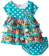 Baby Girls Infant Aqua Dots and Floral Tiers Knit Dress (12 Months, Aqua)