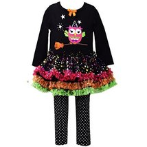 Little Girls 2T-6X Witch Owl Appliqued Legging Set, Black, 4T [Apparel]