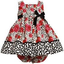 Bonnie Jean Baby 3M-24M RED IVORY BLACK ROSE LEOPARD ANIMAL PRINT DRESS (3/6M...