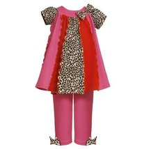 Size-4T BNJ-5290B 2-Piece FUCHSIA-PINK LEOPARD PRINT COLORBLOCK PANEL KNIT Dr...