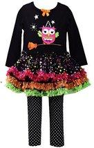 Little Girls 2T-6X Owl on Broom Applique Dress/Legging Set, Bonnie Jean, Blac...