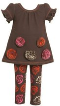 Bonnie Baby-girls Newborn Knit Top With Rusched Flowers and Print Legging, Br...