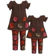 Size-2T BNJ-5292B 2-Piece BROWN PINK RED Rolled Rosette BorderRose Print Knit...