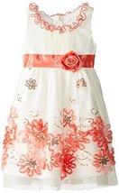 Little Girls Ivory/Coral Sequin Bonaz Border Mesh Overlay Dress (Coral/Ivory) image 2