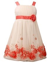 Little Girls Ivory/Coral Sequin Bonaz Border Mesh Overlay Dress (Coral/Ivory)