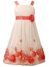 Big Girls Tween 7-16 Coral/Ivory Sequin Bonaz Border Mesh Overlay Dress, Bonn... - $42.47