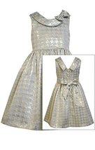 Little Girls 4-6X Aqua-Blue/Gold Metallic Brocade Houndstooth Fit Flare Dress...